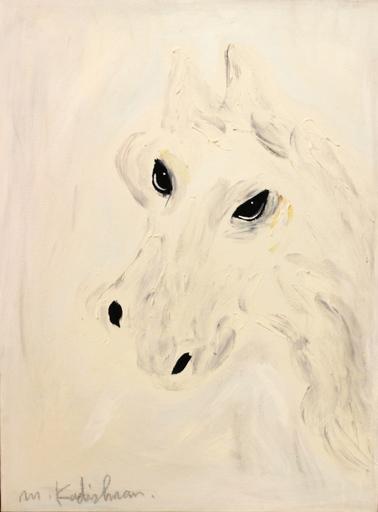 Menashe KADISHMAN - Painting - white horse head