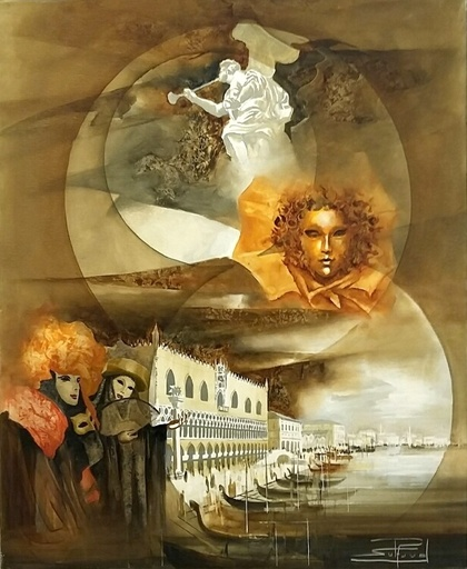 Roger SURAUD - Painting - Masque d'Or