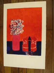 """André BRASILIER - Grabado - """"Le Violon Rouge""""1959."""