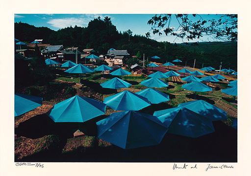 CHRISTO - Druckgrafik-Multiple - Umbrellas Jinba Blue