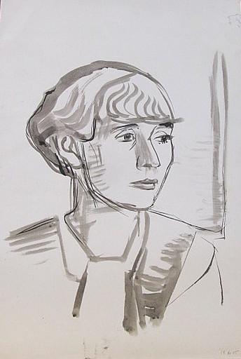 Erich HARTMANN - Disegno Acquarello - #19905: Frauengesicht im Halbprofil.