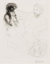 Pablo PICASSO - Grabado - Sculpteur et Modèle agenouillé, Pl.69 from 'La Suite Vollard