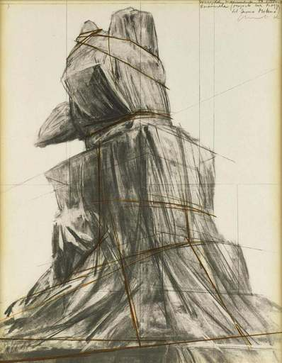 CHRISTO - Estampe-Multiple - Wrapped monument to Vittorio Emanuele