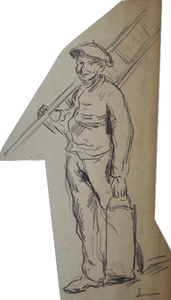 Maximilien LUCE - Zeichnung Aquarell - Ouvrier au Travail