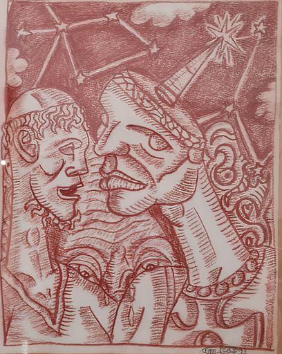 贡巴斯 - 水彩作品 - Les deux clowns
