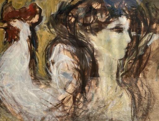 Gabriel TERBOTS CECHOV - Drawing-Watercolor - Femme au coq