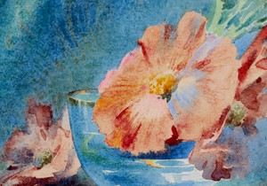 """Blanche ODIN - Drawing-Watercolor - """"LES PAVOTS"""""""