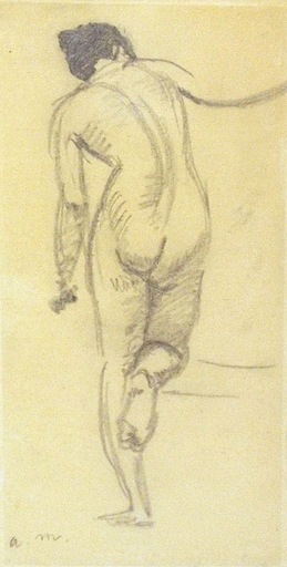 Albert MARQUET - Drawing-Watercolor - Nude from behind / Nue de dos