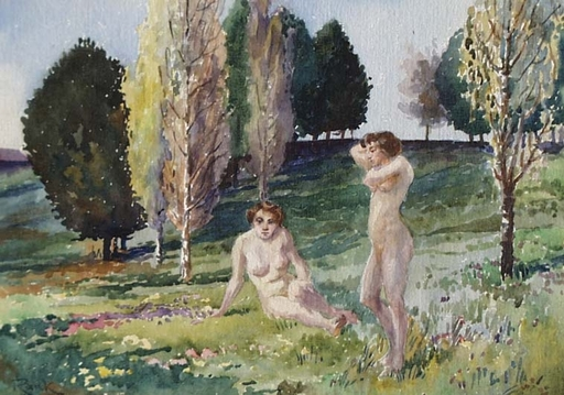 "Georg RANK - Dessin-Aquarelle - ""Female Nudes in Landscape"" by Georg Rank, ca 1920"