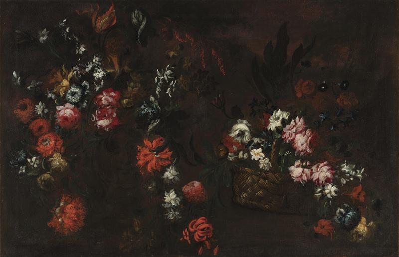 Elisabetta MARCHIONI - Painting - Natura morta con cesta di fiori