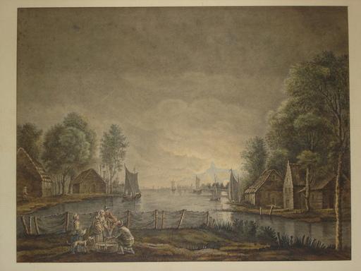 Jacob Philipp HACKERT (Attrib.) - Drawing-Watercolor - Retour de pêche