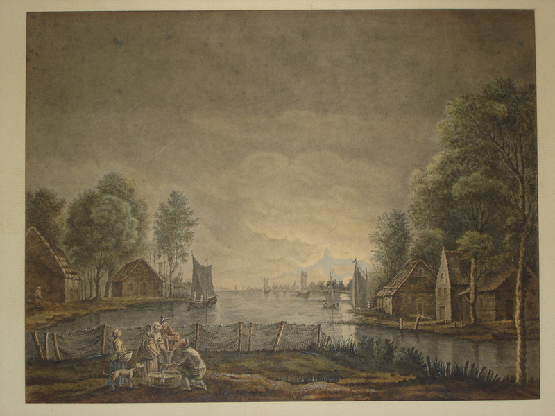 Jacob Philipp HACKERT (Attrib.) - Disegno Acquarello - Retour de pêche