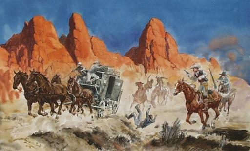 """Lev Michailovitsch KHAILOV - Zeichnung Aquarell - """"Wild West"""" by Lev Khailov, ca 1970"""
