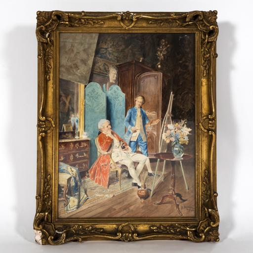 Bernard Louis BORIONE - Drawing-Watercolor - Le peintre dans son atelier
