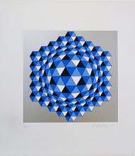 Victor VASARELY - Estampe-Multiple - Composition cinétique en bleu et argent