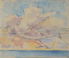 Georges LEMMEN - Dibujo Acuarela - La Mer et le ciel
