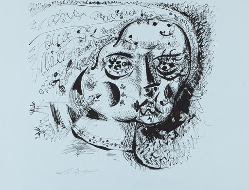 André MASSON - Dibujo Acuarela - Femme attaquée par des oiseaux