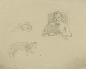 "Boris Mikhailovich KUSTODIEV, ""Self-Portrait and Studies of Cats"""