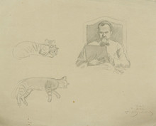 "Boris Mikhailovich KUSTODIEV - Drawing-Watercolor - ""Self-Portrait and Studies of Cats"""