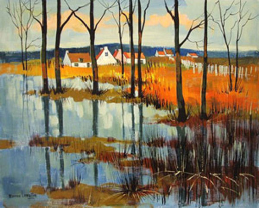 Maurice LEMAITRE - Painting - Countryside Landscape