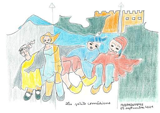 Reine BUD-PRINTEMS - Zeichnung Aquarell - Les petits comédiens