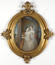 "Michele ALBANESI - Miniatura - ""Maria Carolina and Teresa Cristina of Two Sicilies"", 1839"