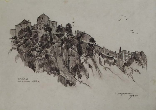 "Ludwig HESSHAIMER - Drawing-Watercolor - ""Village Omisali on Island Krk"" by Ludwig Hesshaimer"