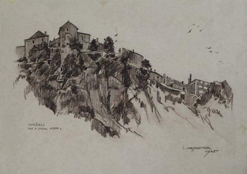 "Ludwig HESSHAIMER - Drawing-Watercolor - ""Village Omisali on Island Krk"" by Ludwig Hesshaimer"