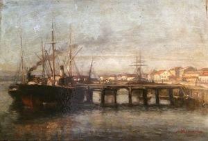 Agustin RIANCHO Y MORA - Pintura - Puerto de Santander. Barco de vapor.