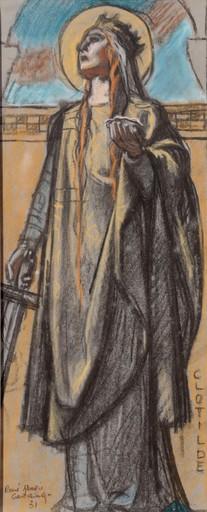"""René Marie CASTAING - Drawing-Watercolor - """"ETUDE POUR SAINTE CLOTILDE"""""""