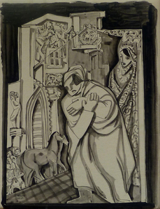 Béla KADAR - Drawing-Watercolor - A Couple in Architectural Cityscape