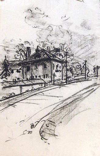 Friedrich EINHOFF - Drawing-Watercolor - #19994: Bahnhof (?)