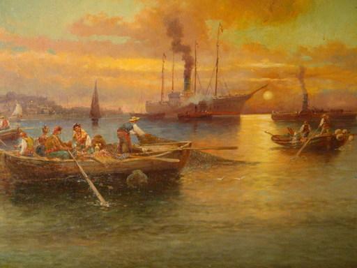 Karl KAUFMANN - Gemälde - Hafeneinfahrt von Messina / Italien