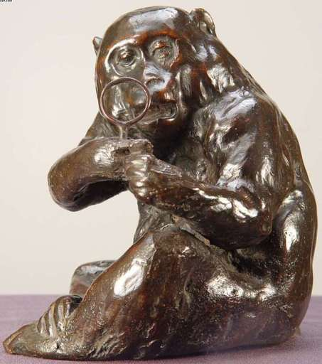 Paul GAYRARD - Sculpture-Volume - Monkey with Magnifying Glass