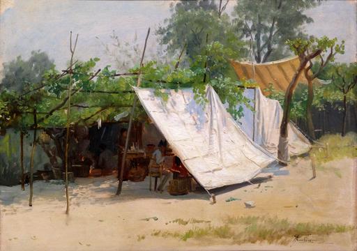 Giacomo MANTEGAZZA - Peinture - Un accampamento