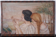 Alphonse MUCHA - Pittura - portrait de deux femmes