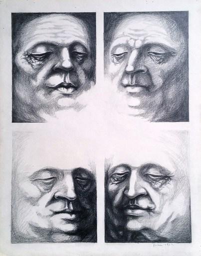 Tudor ONICA - Dessin-Aquarelle - études 4 visages 3 avril
