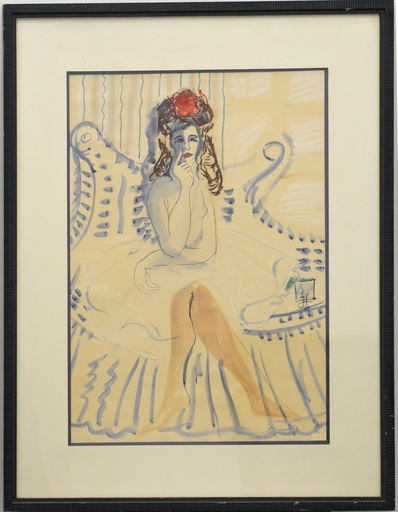 Horst JANSSEN - Drawing-Watercolor - Seated Lady