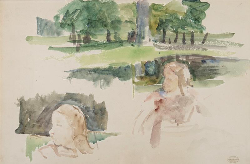 Mary CASSATT - Dessin-Aquarelle - Étude de paysage à la rivière et d'enfants