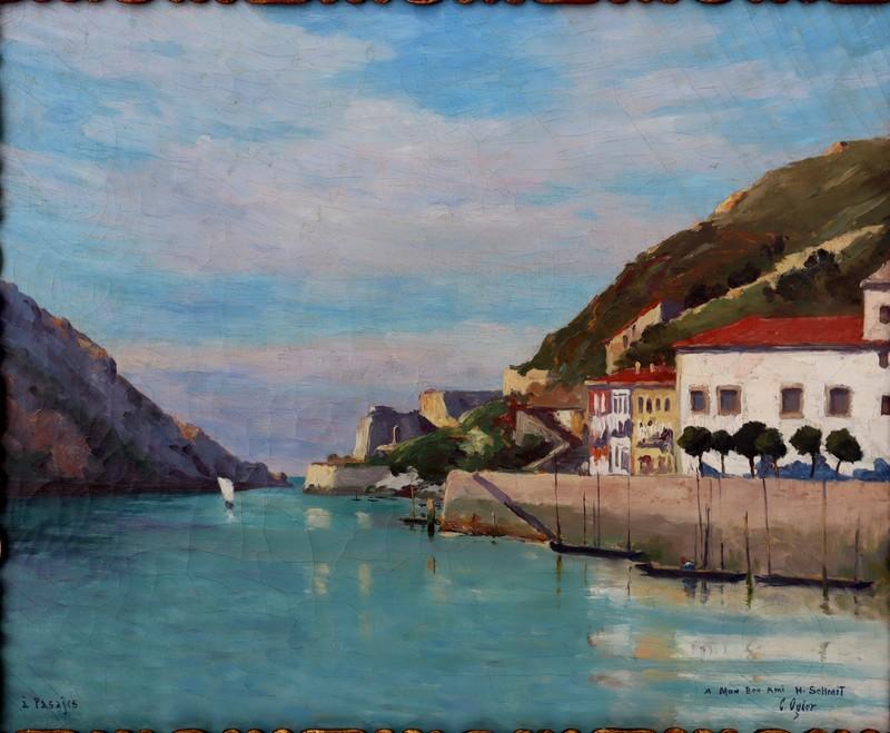 "Charles Jean OGIER - Painting - ""PASAJES (PAYS BASQUE)"""