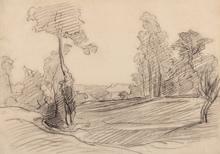 Charles François DAUBIGNY (1817-1878) - Paysage aux grands arbres
