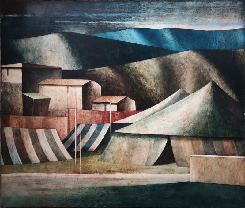 Marcello SCUFFI - Painting - Il Circo ed il suo accampamento