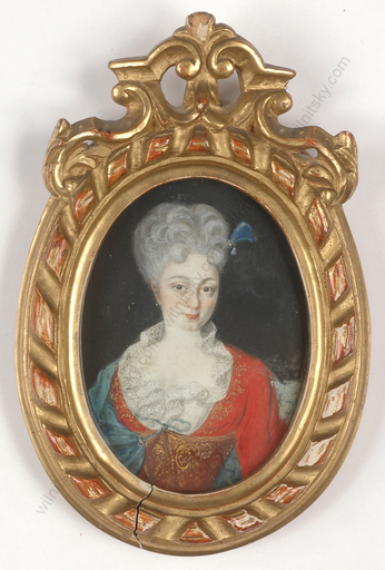 "Miniatur - ""Portrait of a young lady"", miniature on vellum, 1733"