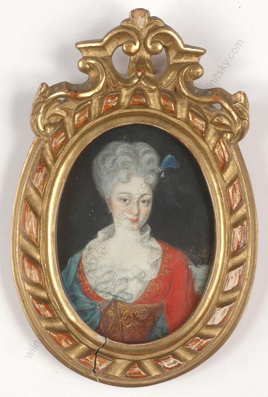 "Miniatur - ""Portrait of a young lady"", miniature on vellum, 1733"