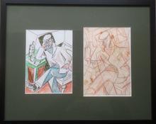 Marie Vorobieff MAREVNA - Dessin-Aquarelle - 1937 & 1944 Hommage to Caran d'Ache (1858-1909)