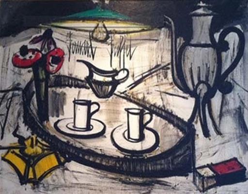 Bernard BUFFET - Peinture - Still life with Anemonies