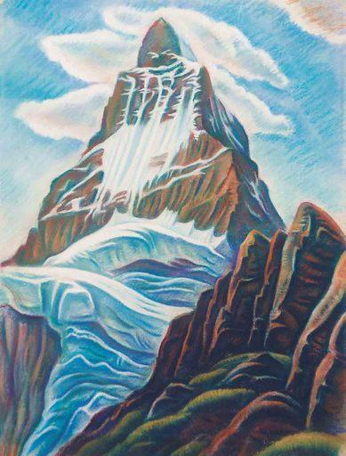 Theodor ALLESCH-ALESCHA - Dibujo Acuarela - Matterhorn