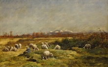 Charles Emile JACQUE - Painting - Shepherd with his Flock
