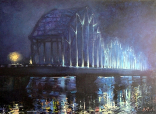 Alise MEDINA - Pintura - Bridge at night