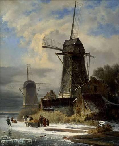 Andreas SCHELFHOUT - Painting - Paysage d'Hiver au Moulin